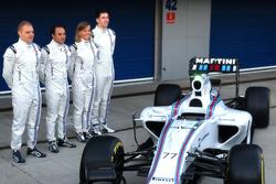 Valtteri Bottas, Felipe Massa, Susie Wolff und Alex Lynn mit dem Williams FW37