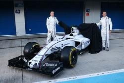(L to R): Valtteri Bottas, Williams and team mate Felipe Massa, Williams unveil the Williams FW37