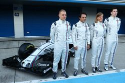 The Williams FW37 is unveiled: Valtteri Bottas, Williams; Felipe Massa, Williams; Susie Wolff, Willi