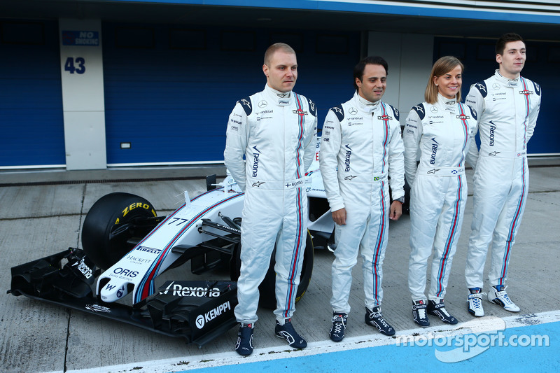 Williams FW37 é revelado: Valtteri Bottas, Williams; Felipe Massa, Williams; Susie Wolff, Williams piloto de desenvolvimento; Alex Lynn, Williams piloto de desenvolvimento