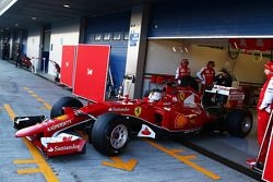 Sebastian Vettel, Ferrari SF15-T leaves the pits