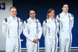 (L to R): Valtteri Bottas, Williams with Felipe Massa, Williams; Susie Wolff, Williams Development Driver; and Alex Lynn, Williams Development Driver