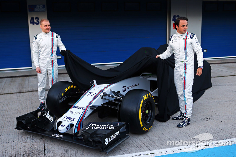 (Von links nach rechts): Valtteri Bottas, Williams, und Felipe Massa, Williams, enthüllen den Williams FW37