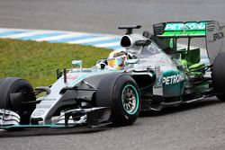 Lewis Hamilton, Mercedes AMG F1 W06 running flow-vis paint
