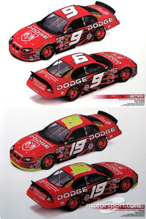 Evernham Motorsports press conference: rendering of Kasey Kahne #9 and Jeremy Mayfield's #19 cars with the Stanley sponsorship
