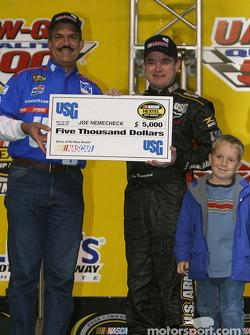 Drivers presentation: Joe Nemechek receives a check