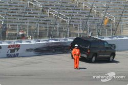 SAFER barrier is damaged in the accident