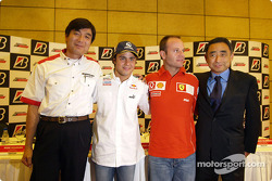 Bridgestone press conference: Hisao Suganuma, Felipe Massa, Rubens Barrichello and Hiroshi Yasukawa