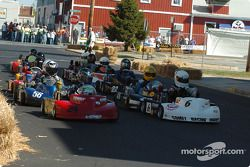 Pro Race-#6 Robert Smith and #24 Jason Trennepohl lead the start of the Rodney J. Harrington Memorial Pro Race at Milford