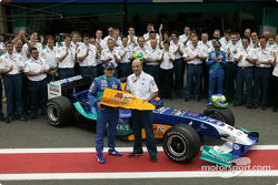 Giancarlo Fisichella fête son dernier Grand Prix au volant de la Sauber