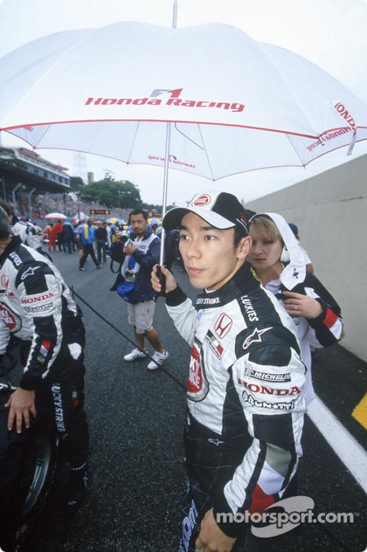 Takuma Sato sur la grille de départ