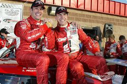Race winner and Grand American Rolex Series 2004 champions Max Papis and Scott Pruett celebrate