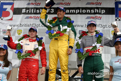 Podium: race winner Lucas di Grassi, James Rossiter and Adam Carroll