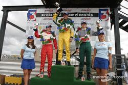 Podium: race winner Lucas di Grassi, James Rossiter and Adam Carroll