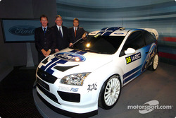 Malcolm Wilson, Lewis Booth and Jost Capito with the new Ford Focus WRC Concept