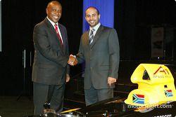 Tokyo Sexwale (RSA) Chairman of Mvelaphamda Holdings and A1 Grand Prix South Africa seat holder and His Highness Sheikh Maktoum Hasher Maktoum Al Maktoum (UAE) CEO A1 Grand Prix