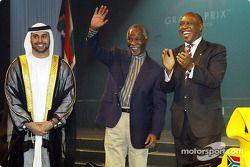 His Highness Sheikh Maktoum Hasher Maktoum Al Maktoum (UAE) CEO A1 Grand Prix, South African President Mbeki (RSA) and Tokyo Sexwale (RSA) Chairman of Mvelaphamda Holdings and A1 Grand Prix South Africa seat holder