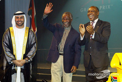 His Highness Sheikh Maktoum Hasher Maktoum Al Maktoum (UAE) CEO A1 Grand Prix, South African President Mbeki (RSA) and Tokyo Sexwale (RSA) Chairman of Mvelaphamda Holdings and A1 Grand Prix South Africa seat holder