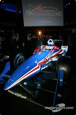 The UK A1 Grand Prix car is unveiled