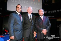 Sheikh Maktoum Hasher Maktoum Al Maktoum (UAE) CEO and President of A1 Grand Prix, John Surtees (GBR) Spokesperson for the UK National Seat Holders and another guest