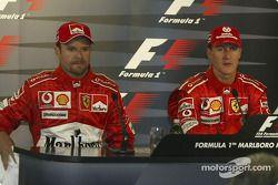 basın toplantısı: Rubens Barrichello ve Michael Schumacher