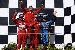 Podium: Rubens Barrichello, Jean Todt, Michael Schumacher and Fernando Alonso