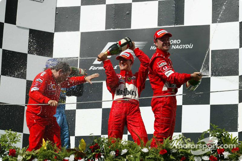 2004: 1. Михаэль Шумахер, 2. Рубенс Баррикелло, 3. Фернандо Алонсо