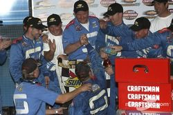 Victory lane: race winner David Starr celebrates with his crew