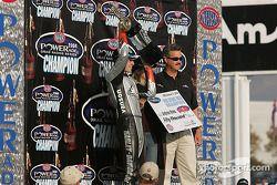 Andrew Hines celebrates 2004 NHRA POWERade World Championship in Pro Stock Bike