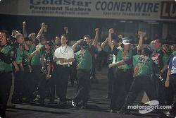 The Castrol GTX crew celebrate victory
