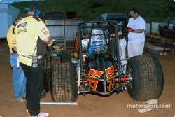 USAC officials inspect Hawaii sprinter Ben Apuna's car