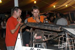 Mike Martin and mechanic Johnny Stroble ponder their engine failure