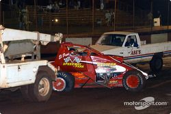 John Carney, Jr. receives tow after colliding with Rick Ziehl in trophy dash