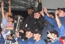 NASCAR Craftsman Truck Series 2004 champion Bobby Hamilton celebrates with his team