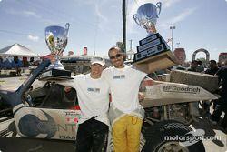 Second place Oriol Servia and winner Michel Jourdain Jr. celebrate
