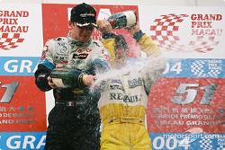 Podium: champagne shower for Alexandre Premat