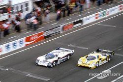 #1 Rothmans Porsche Porsche 962C: Hans-Joachim Stuck, Derek Bell, Al Holbert, #7 Joest Racing Porsch