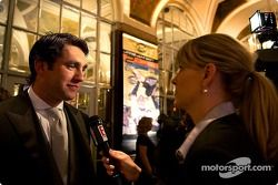 Elliott Sadler does a interview for the E channel just before the banquet