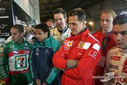 Tony Kanaan, Felipe Massa, Michael Schumacher y Sébastien Loeb