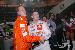 Champagne for Michael Schumacher and Sébastien Loeb