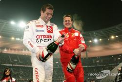 Champagne pour Sébastien Loeb et Michael Schumacher