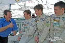 The Racer's Group owner Kevin Buckler with Team16 drivers Brad Coleman, Colin Braun and Adrian Carrio