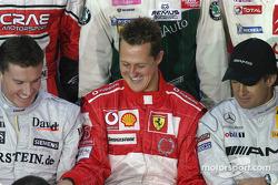 David Coulthard, Michael Schumacher y Jean Alesi