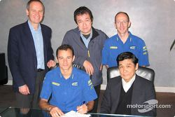 Stephane Sarrazin signs his contract with the Subaru World Rally Team