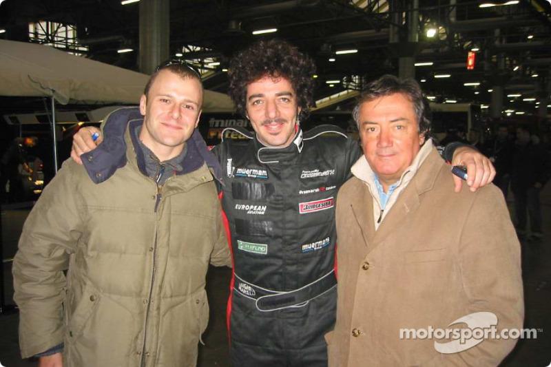 Singer Max Gazzé flanked by 2004 Minardi F1 driver, Gianmaria Bruni, and team founder, Gian Carlo Mi