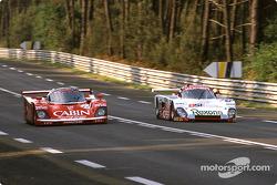 #14 Richard Lloyd Racing Porsche 962C: Derek Bell, James Weaver, Tiff Needell, #103 France Prototeam Spice SE88C Ford: Bernard Thuner, Pierre de Thoisy, Raymond Touroul