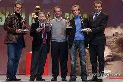 The 'Caschi d'oro' prize giving: Michael Schumacher, Jean Todt, Rubens Barrichello and Luca Badoer