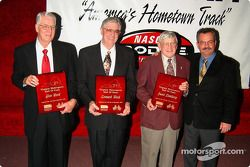 The inductees into the Virginia Motorsports Hall of Fame: Wood Brothers Glen and Leonard, Junie Donlavey and South Boston Speedway President Joe Mattioli III
