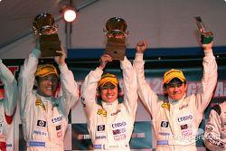 GT300 podium: class winners Hiroyuki Yagi, Haruki Kurosawa and Tetsuya Yamano celebrate