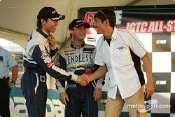 GT300 podium: Mitsuhiro Kinoshita and Kazuki Hoshino